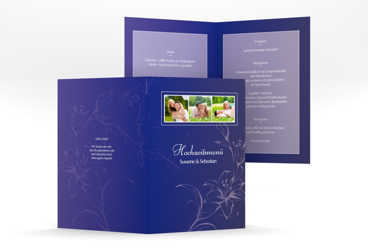 """Menükarte Hochzeit """"Lille"""" DIN A5 geklappt blau"""