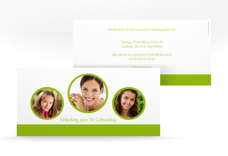 "Einladungskarte ""Anton/Antonia"" DIN lang gruen"