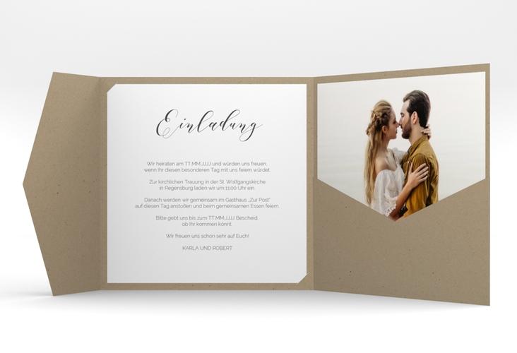 """Hochzeitseinladung """"Promise"""" Pocketfold weiss"""