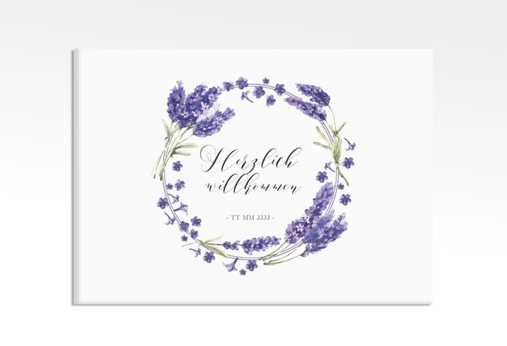 "Willkommensschild Leinwand ""Lavendel"" 70 x 50 cm Leinwand"