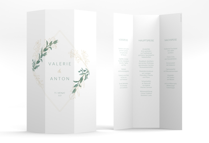 "Menükarte Hochzeit ""Verde"" DIN A4 Wickelfalz"