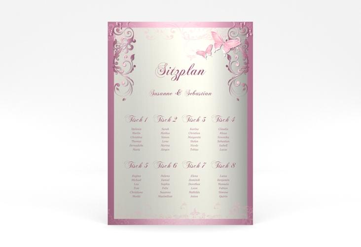 "Sitzplan Poster Hochzeit ""Toulouse"" 50 x 70 cm Poster rosa"