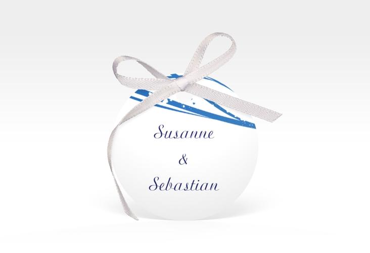 """Geschenkanhänger Hochzeit """"Mailand"""" Geschenkanhänger, rund blau"""