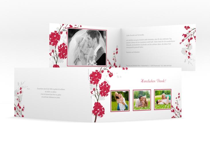 "Danksagungskarte Hochzeit ""Salerno"" DIN lang Klappkarte rot"