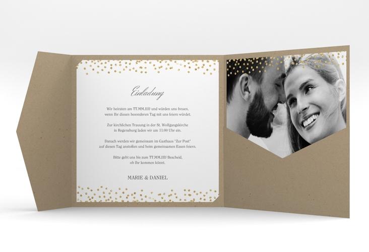 """Hochzeitseinladung """"Glitter"""" Pocketfold weiss"""