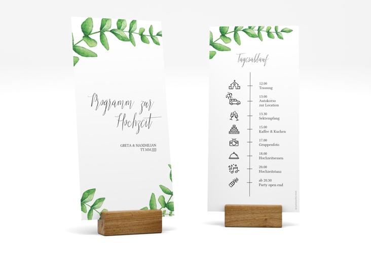 """Tagesablauf Hochzeit """"Botanic"""" DIN lang hoch weiss"""