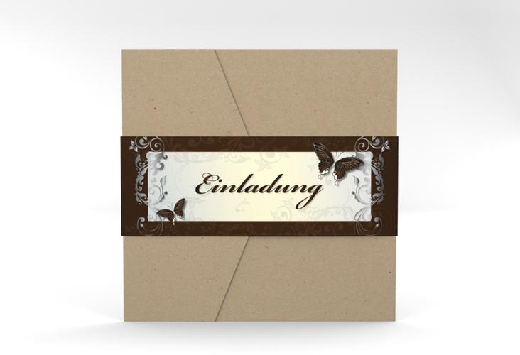 """Hochzeitseinladung """"Toulouse"""" Pocketfold braun"""
