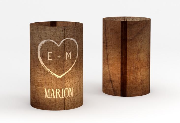 """Windlicht Hochzeit """"Wood"""" Windlicht braun"""
