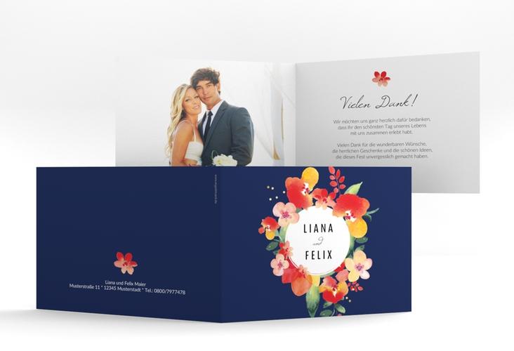 """Danksagungskarte Hochzeit """"Exotic"""" A6 Klappkarte Quer blau"""
