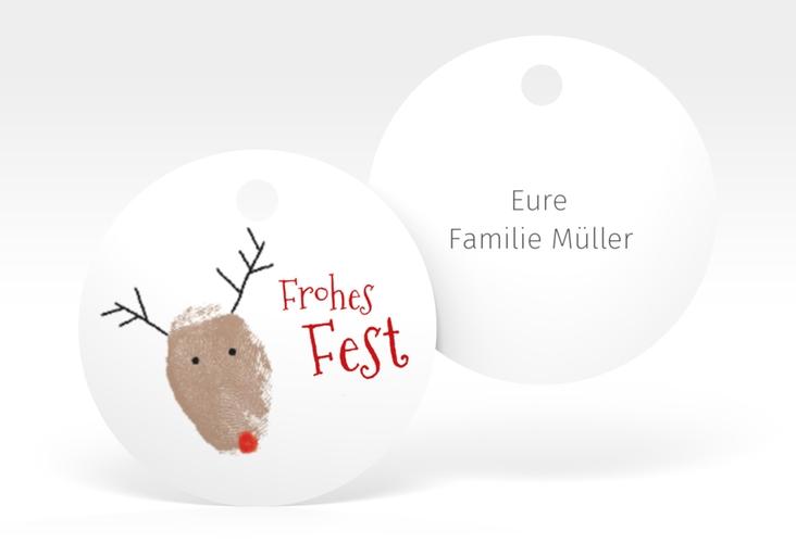"""Geschenkanhänger Weihnachten """"Rudolph"""" Geschenkanhänger, rund weiss"""