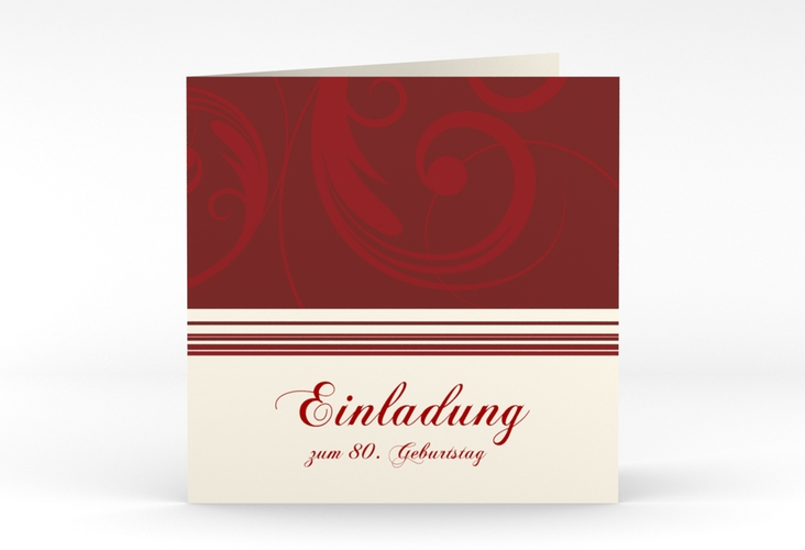 """Einladungskarte """"Katharina"""" Quadratische Klappkarte rot"""
