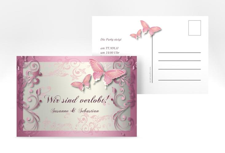 "Verlobungskarte Hochzeit ""Toulouse"" A6 Postkarte rosa"