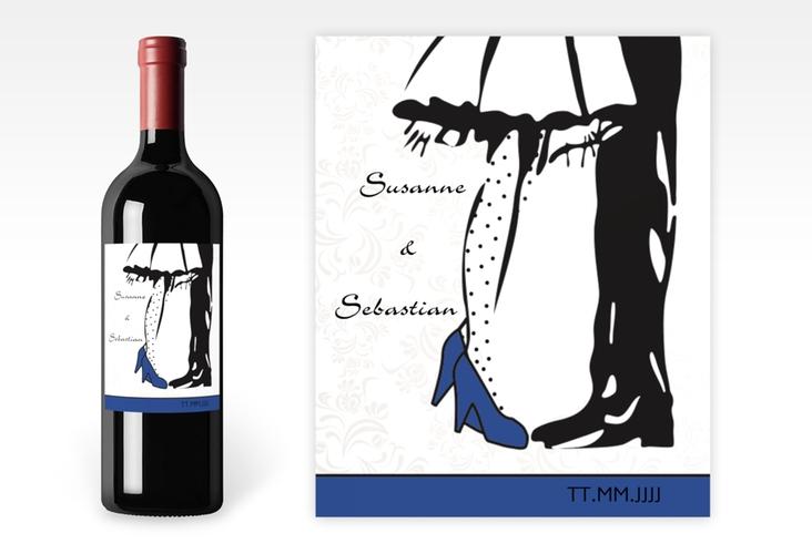 """Weinetikett zur Hochzeit """"Straßburg"""" Etikett Weinflasche 4er Set blau"""