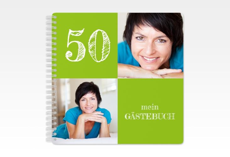 "Gästebuch Geburtstag ""Lebensfreude"" Ringbindung gruen"