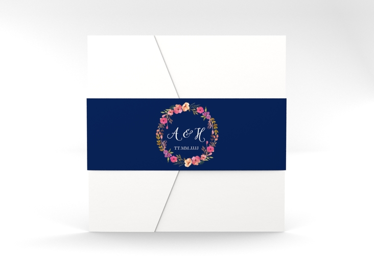 """Hochzeitseinladung """"Fiore"""" Pocketfold blau"""