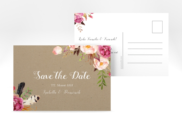 "Save the Date-Postkarte ""Flowers"" A6 Postkarte braun"