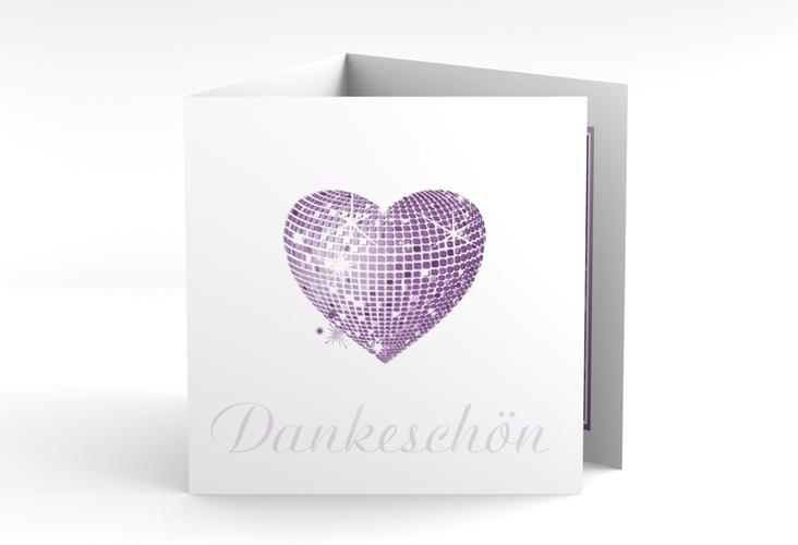 """Danksagungskarte Hochzeit """"Rimini"""" Quadr. Karte doppelt lila"""