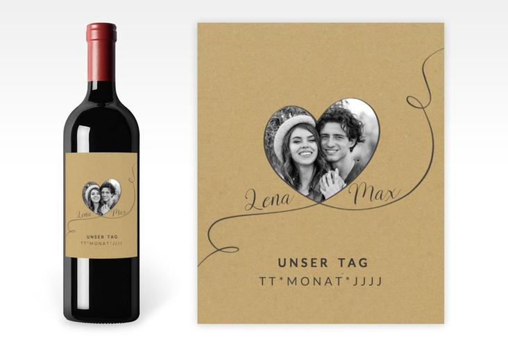"""Weinetikett zur Hochzeit """"Herzensbund"""" Etikett Weinflasche 4er Set schwarz"""