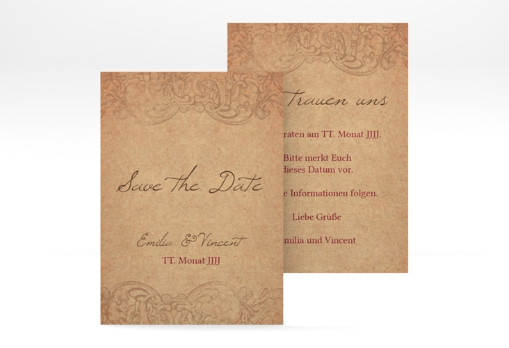 "Save the Date-Visitenkarte ""Fairytale"" Visitenkarte braun"