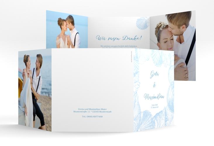 """Dankeskarte Hochzeit """"Muschelreich"""" Quadr. Karte doppelt"""