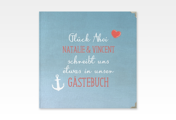 """Gästebuch Selection Hochzeit """"Ehehafen"""" Leinen-Hardcover blau"""