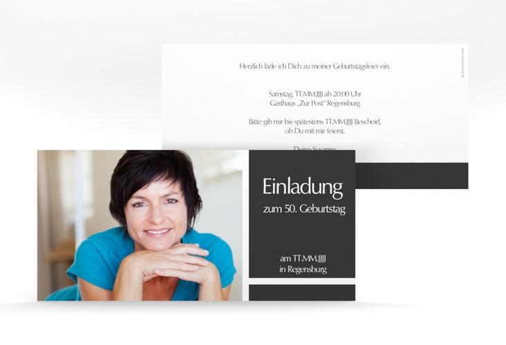"""Einladungskarte """"Gerd/Gerda"""" DIN lang grau"""