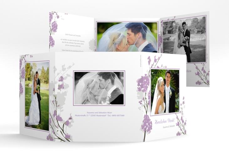 """Danksagungskarte Hochzeit """"Salerno"""" Quadr. Karte doppelt flieder"""