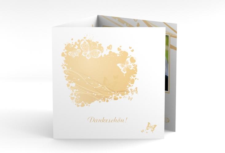 """Danksagungskarte Hochzeit """"Mailand"""" Quadr. Karte doppelt beige"""
