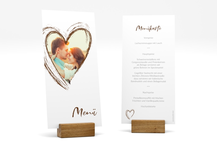 "Menükarte Hochzeit ""Liebe"" DIN lang hoch braun"