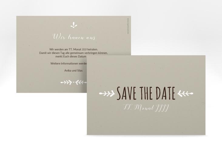 "Save the Date-Karte Hochzeit ""Eden"" A6 quer weiss"