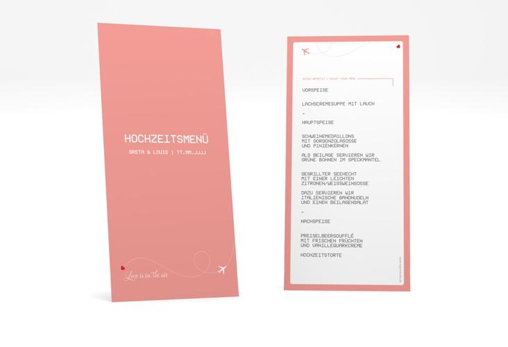 """Menükarte Hochzeit """"Weddingpass"""" DIN lang hoch rosa"""