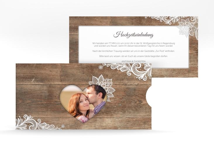 """Hochzeitseinladung """"Spitze"""" Einsteckkarte braun"""