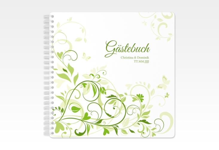 "Gästebuch Hochzeit ""Lilly"" Ringbindung gruen"