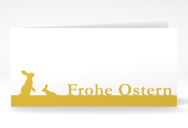 "Osterkarte ""Hasen"" DIN lang Klappkarte orange"