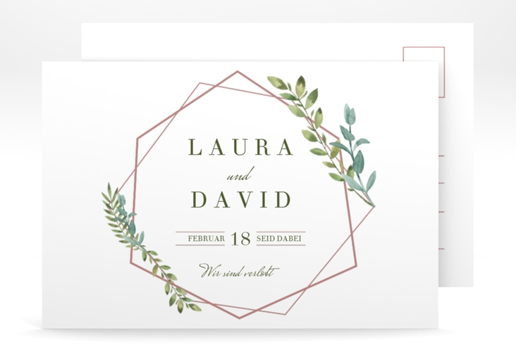"Verlobungskarte Hochzeit ""Herbarium"" A6 Postkarte rosa"