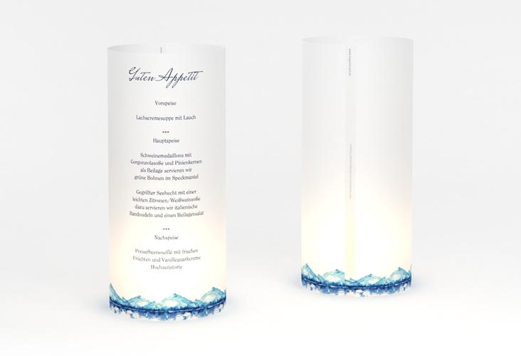 """Windlicht Menü Hochzeit """"Bergliebe"""" Windlicht blau"""