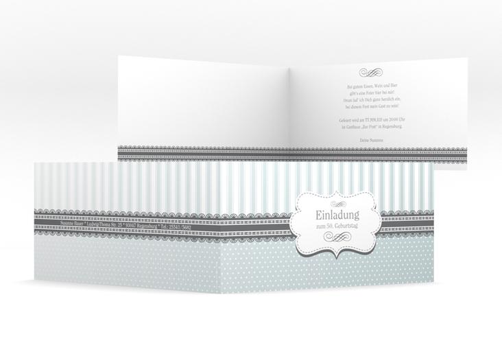 """Einladungskarte """"Heinrich/Henriette"""" DIN lang Klappkarte grau"""