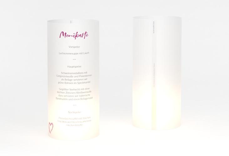 """Windlicht Menü Hochzeit """"Liebe"""" Windlicht pink"""