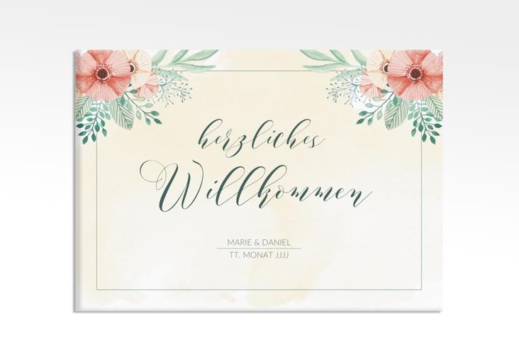 """Willkommensschild Hochzeit """"Surfinia"""" 70 x 50 cm Leinwand apricot"""
