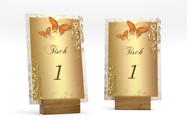"""Tischnummer Hochzeit """"Toulouse"""" Tischaufsteller orange"""