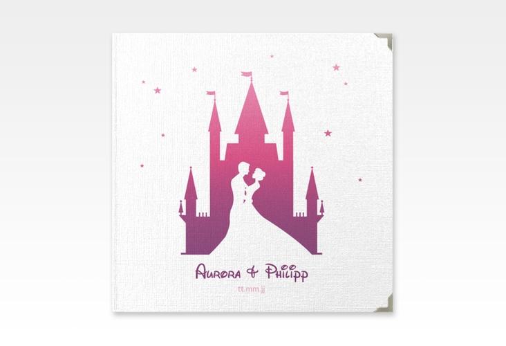"Gästebuch Selection Hochzeit ""Castle"" Leinen-Hardcover pink"