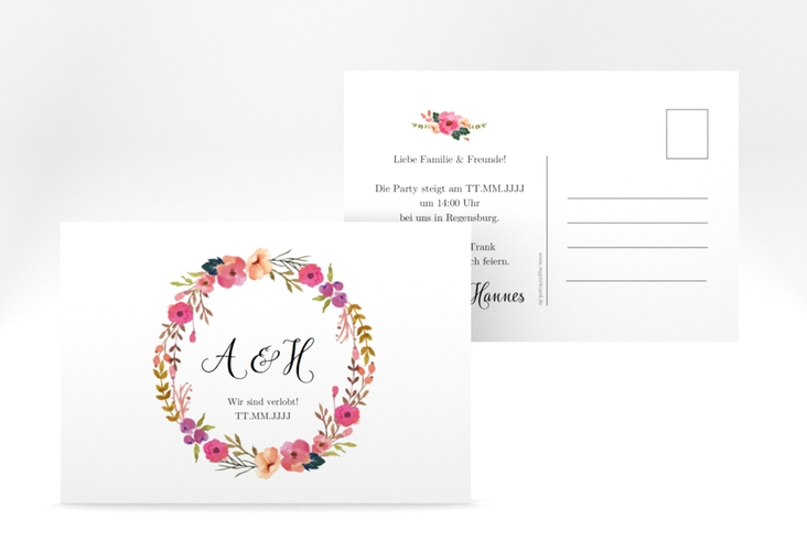 "Verlobungskarte Hochzeit ""Fiore"" A6 Postkarte weiss"
