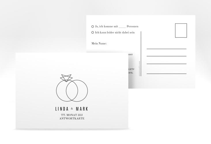 """Antwortkarte Hochzeit """"Rings"""" A6 Postkarte weiss"""