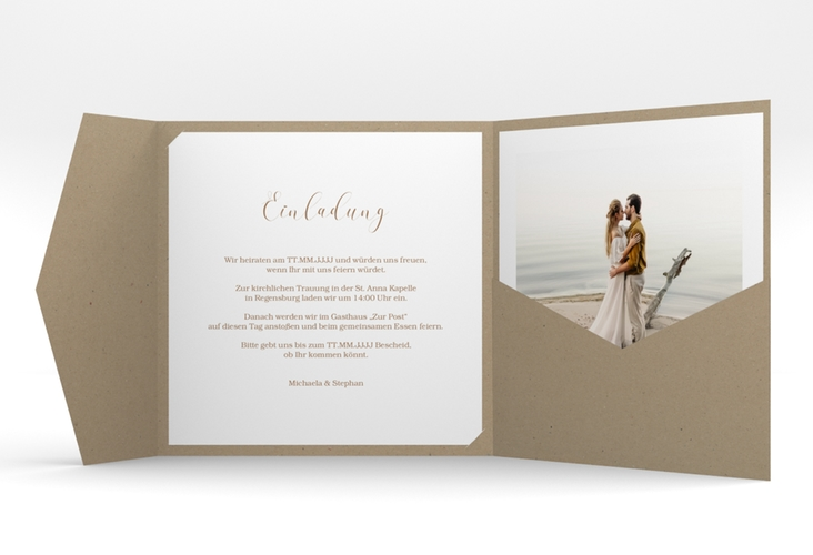 """Hochzeitseinladung """"Pampasgras"""" Pocketfold weiss"""