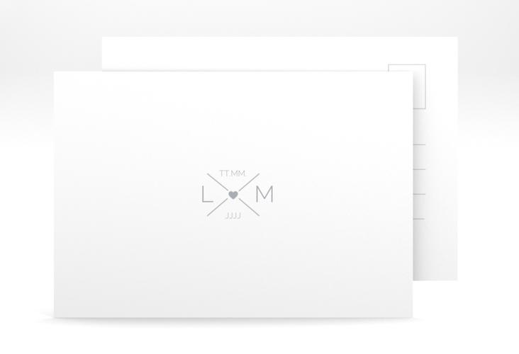 "Antwortkarte Hochzeit ""Initials"" A6 Postkarte grau"