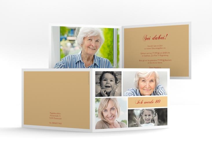 """Einladungskarte """"Bilderserie"""" A6 Klappkarte Quer beige"""