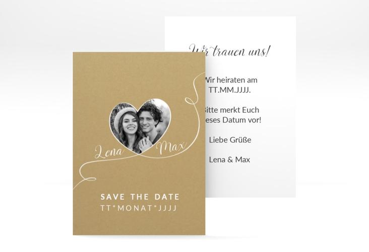 "Save the Date-Visitenkarte ""Herzensbund"" Visitenkarte weiss"