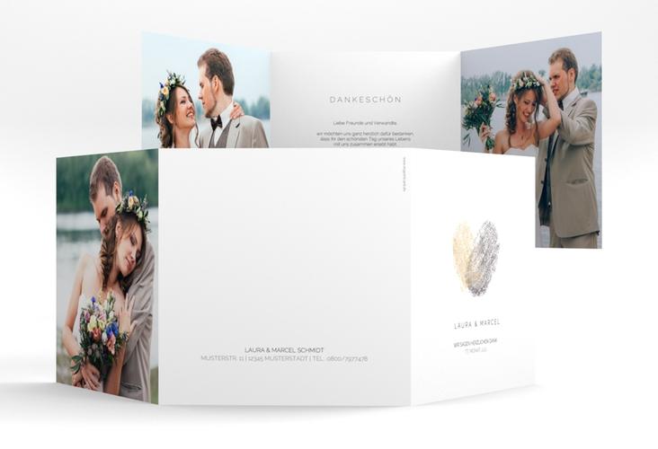 """Dankeskarte Hochzeit """"Fingerprint"""" Quadr. Karte doppelt beige"""
