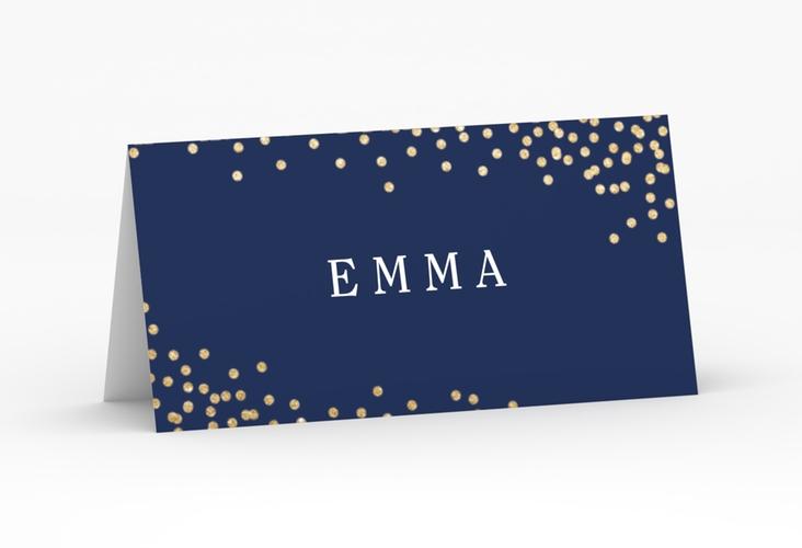 """Tischkarte Hochzeit """"Glitter"""" Tischkarten blau"""