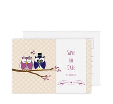 """Save the Date-Postkarte """"Eulenliebe"""""""